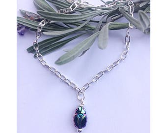 Striking Sterling silver scarab bracelet made using Swarovski crystal