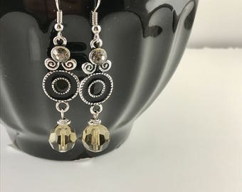 Black Dangle Earrings with Smokey Crystal