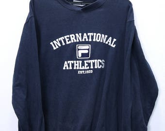 Vintage FILA INTERNATIONAL ATHLETICS Sweatshirt Big logo Spell Out Embroidery Large size