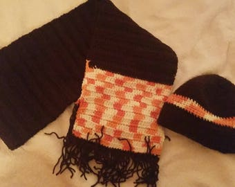Brown & multi-colored scarf with matching hat