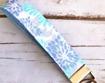 Blue flower key fob / wristlet / keychain