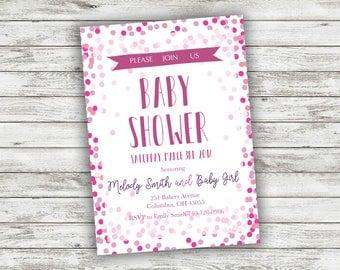 Baby Girl Shower Invitation, Baby Girl Shower Invite, Baby Shower Party Invitation, Couples Baby Shower, Pink Baby Shower Invite Party
