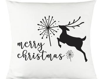 "Reindeer Merry Christmas 14""x14"" Decorative Throw Pillow"