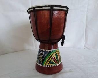 Djmbe, djembe, bongo drums : 15c, 20cm, 30cm. Natural, organic materials, percussion drum , dot pattern artwork on basd