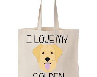 I Love My Golden Retriever Canvas Tote Bag