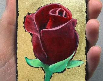 Unique Gift Card! ACEO Original Oil Painting Flower. OOAK, Everlasting  Red Rose. Gold Color, Luxury Gift!