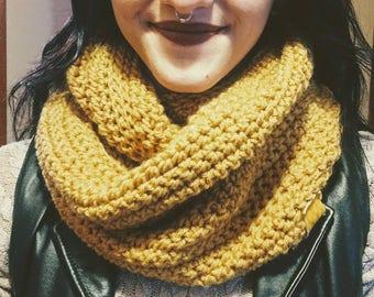 Fire Eternal crochet infinity scarf in Sungold yellow