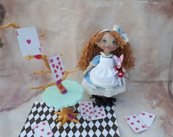 Doll with clothes Alice in Wonderland Dress up doll Doll with dress Art doll OOAK Rag doll Alice with White rabbit