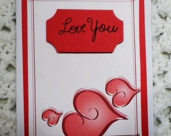 Fancy Heart with Roses Love You On Red Valentine Greeting Card, Handmade  Card, Made in the USA, #359