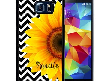 Personalize Rubber Case For Samsung Note 3, Note 4, Note 5, or Note 8- Black Chevron Sunflowers