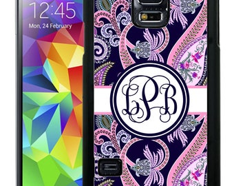 Monogrammed Rubber Case For Samsung Note 3, Note 4, Note 5, or Note 8 - Navy Pink Paisley