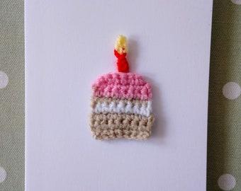 Birthday Cake Crochet Greetings Card