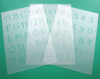 3-Template Set 034 | Frills-letters and number height approx. 3cm-3, 8cm