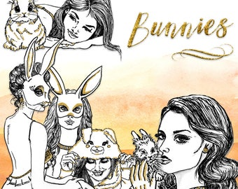 Bunnies Clip Art | Hand Drawn Graphics | Illlustration, Digital Cliparts | Girl Clip Art | Watercolour Clip Art | Bunny Clip Art