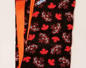 Girls and Boys Unisex Native Art Print Canadian Leaf Child's Blanket. Black, Orange, White, flat minky, One of a Kind