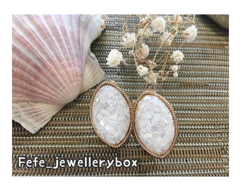 Oval Gem Earrings - White