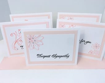 Handmade Sympathy/Praying for You/Thinking of You Cards/Set of 5/Blank