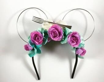 Ariel-Inspired Wire Floral Mickey Ears