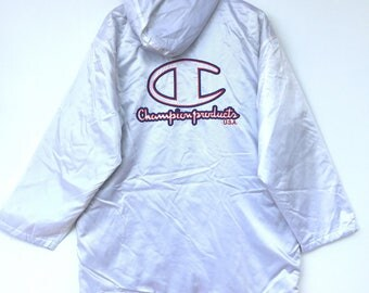 Vintage  champion product long jacket parka big logo spell out emboidery
