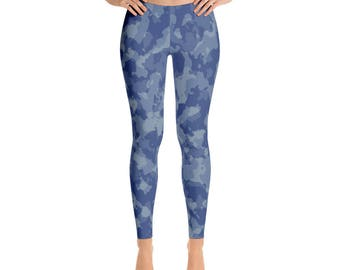 Camouflage Leggings - Camo Leggings - Womens Leggings - Yoga Leggings - Workout Legggings - Army Leggings - Camping Leggings - Blue Camo Leg