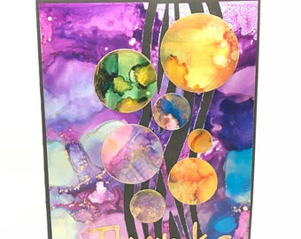 Alcohol Ink Thank you card - Colourful!
