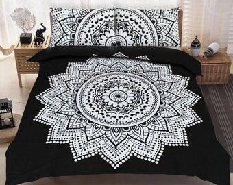Boho Queen Size Mandala Bedding Duvet Doona Set - Black Flower