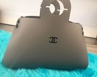 Custom Printed Chanel Logo Plastic Home Decor Purse Light or Lamp   Gray or White