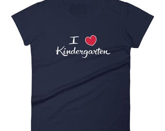 Kindergarten and preschool teacher shirt I Love Kindergarten Tshirt Women's short sleeve t-shirt
