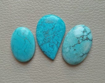 3 Pieces Lot Magnesite Turquoise Gemstone 146 Carat Stones, Oval and Fancy 100% AAA+ Stone Natural Gemstones, Magnesite Turquoise Gemstones.