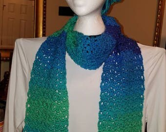 Gorgeous handmade crocheted long scarf and slouchy hat set in beautiful blues and greens.