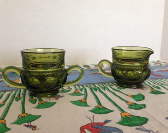 Indiana Glass Kings Crown Thumbprint Sugar and Creamer Set  in Avocado Green