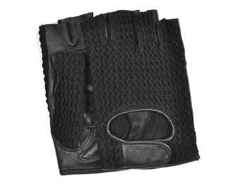 Black Leather&Crochet Fingerless Driving / Biking Gloves for Man
