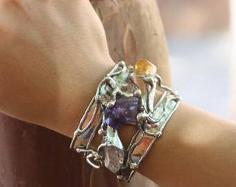 Alpaca Silver Bracelet with Amethyst, Citrine and Natural Crystal