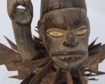 TRIBAL EXOTICS : PREMIUM Authentic fine tribal fine African Art - Kongo Bakongo Nkisi Power Wood Figure Sculpture Statue Mask