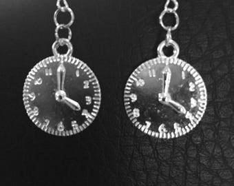 WHIMSICAL! Silver Clock Earrings