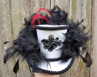 Mini top hat with lights, Steampunk, Mardi Gras, Halloween, Wedding, Festival, Octopus