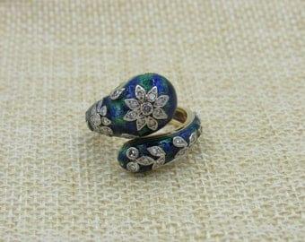 18K Vintage Enamel Diamond  Ring