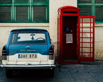 Classic Car Print, Europe Phone Booth Print, European Print, Travel Photography, Fine Art Photography