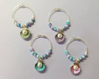 Seashell and Pearl Wine Glass Charms