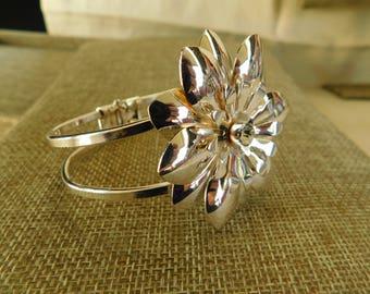 Silver Flower Cuff Bracelet, Silver Flower Jewelry, Silver Rhinestone Bracelet, Silver Rhinestone Jewelry, Floral Jewelry, Cuff Bracelet