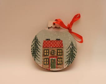 Wooden Christmas Ornament with House, Trees and Snow