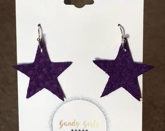 Purple Leather Star Earrings