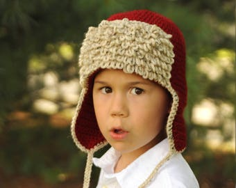 Aviator Hat, Pilot Hat, Hat with ear flaps (size: 3-6 years) - Ready to Ship