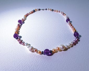 Amethyst and fresh water cultured pearl necklace