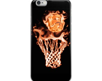 Basketball net and basketball on fire iPhone Case