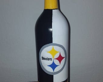 Pittsburgh Steelers painted wine bottle