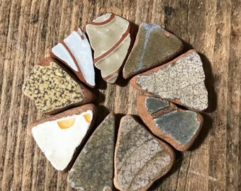 Beach Pottery * Triangle Shaped Sea Pottery 9 Pieces * Mosaics and Home Decor Tiles * Natural Craft Supplies * Beach Shards Italian Pottery