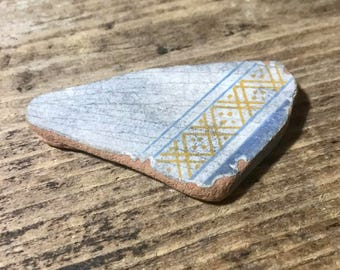 Sea Pottery * Beach Pottery * Blue Yellow Authentic Patterned Sea Terracotta Ceramics Piece * Beach for Home Blue * Beach Decoration, Mosaic