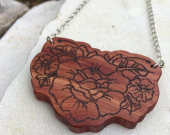 Traditional Rose Tattoo Cedar Wood Necklace, Tattoo Jewelry, Rose Necklace, Boho Flower Pendant Necklace
