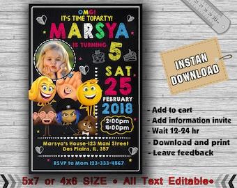 Emoji Invitation,Emoji Birthday Invitation,Emoji Party,Emoji Birthday,Emoji Invites,Emoji Printable,Girl Invitation,Emoji Card,Emoji-F0139